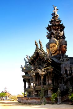 Sanctuary of Truth: a giant wooden construction, located in Pattaya - Thailand