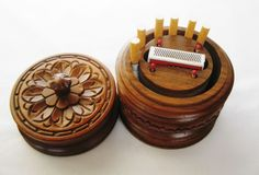 Vintage cigarettes box Handmade woodcarving on walnut Bulgaria 60s