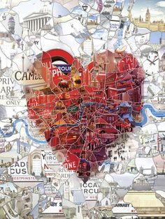 Illustration for the St.Valentine's special issue of Evening Standard magazine. A heart formed by the actual map of London area. Art By Charis Tsevis