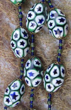 Art Deco Venetian Matched Millefiori Moretti Star Cane  Glass Beads Necklace