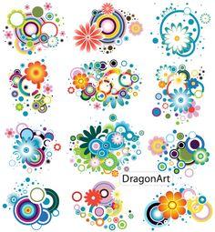 Colorful Flower DesignsVector Free Vector