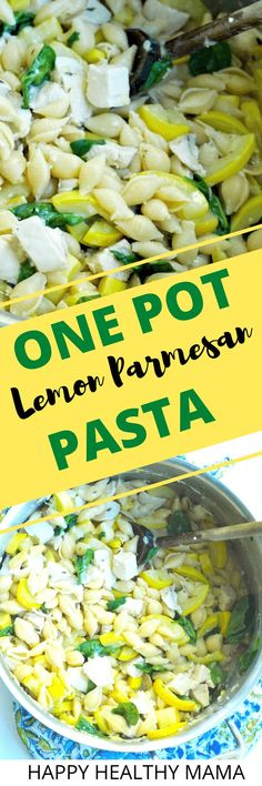 who doesn't love a HEALTHY one-pot pasta dinner recipe idea?! This is great with chicken, summer squash, and spinach. Lemon parmesan gives the best flavor. So easy and so good! Love this healthy weeknight dinner recipe idea!