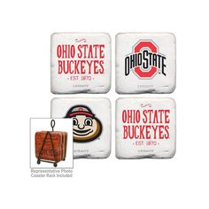 Legacy Athletic Ohio State Buckeyes 4-Piece Tumbled Coaster Set, Red