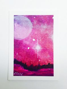 This beautiful ACEO or Artist Trading Card features a night sky landscape with a galaxy sky and a field in the foreground. It is an original and was