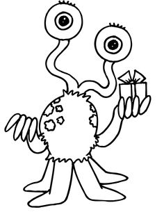 Alien with gift coloring page