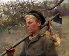 """""""Boy with a Hoe (April)"""" - by Elizabeth Adela Forbes She was Canadian, but spent a good part of her life in England as the wife of famed Newlyn School painter Stanhope Forbes Adele, Canadian Painters, Canadian Artists, Illustrations, Figure Painting, Beautiful Paintings, Metropolitan Museum, Art School, Female Art"""