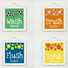Sports Theme Bathroom Prints Set Of 4 Unframed By Studioegifts