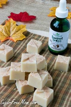 Maple Coconut Refrigerator Fudge made with just 4 ingredients! Low Carb Recipes, Real Food Recipes, Dessert Recipes, Cooking Recipes, Candida Recipes, Healthy Recipes, Low Carb Deserts, Low Carb Sweets, Sugar Free Desserts