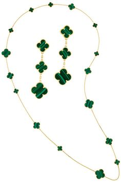Van Cleef & Arpels Malachite necklace and earrings