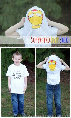 Easy and Fun DIY Clothes for Boys Back to School | Superhero Flip Shirt by DIY Ready at http://diyready.com/12-back-to-school-diy-clothes-you-can-make/