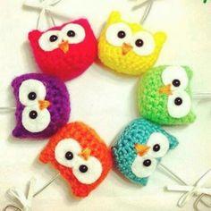 Llaveros buhos Crochet