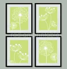 Dandelion in Green Digital Printable Wall by radiantprintable