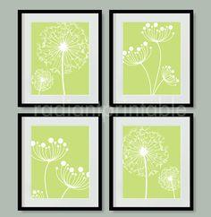 Dandelion in Green Digital Printable Wall by radiantprintable