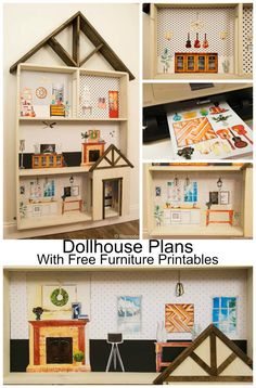 Free Dollhouse building plans with a HUGE set of Furniture printables and instructions for making this the best toy ever. Great gift idea for kids! Christmas or Birthday gift!