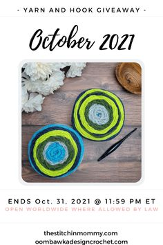 Our 2021 October Yarn and Hook Giveaway prize pack includes 2 Caron Cakes and a 5 mm (H) Furls Streamline Pisces Crochet Hook. Ends October 31, 2021 at 11:59 pm EST. Giveaway not affiliated with Facebook or Instagram. #furlsinf1021 #caroncakes #giveaway