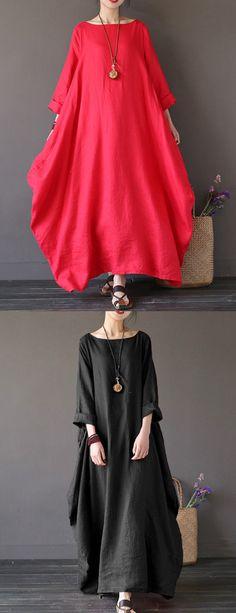 212f23e1c9 Cheap best ZANZEA Vintage Women Solid Sleeve Loose Maxi Dress For Women on  Newchic
