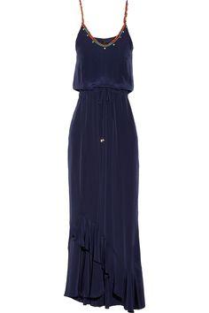 Vix|Kalahari embroidered silk crepe de chine maxi dress|NET-A-PORTER.COM