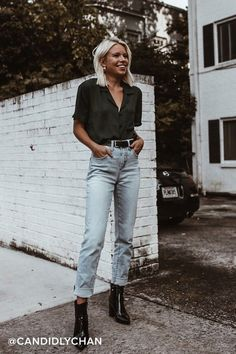 It's easy to dress for success with the Lulus Good Luck Charm Dark Green Short Sleeve Button-Up Top! Classic collared top with pocket and covered button placket Edgy Outfits, Grunge Outfits, Cute Casual Outfits, Jean Outfits, Short Outfits, Fashion Outfits, Hipster Style Outfits, Hipster Outfits For Women, Cool Girl Outfits