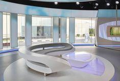 Al Jazeera Studio 14 Set Design Gallery Futuristic Interior, Futuristic Architecture, Interior Architecture, Tv Set Design, Stage Design, Unique Furniture, Furniture Design, Nightclub Design, Showroom Interior Design