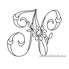 Free Monogram for Hand Embroidery: 'N' via Mary Corbet