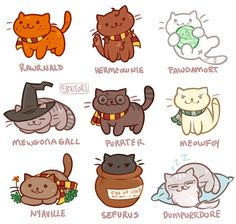 Potter cats harry potter harry potter, kedi y drawing Harry Potter World, Casas Do Harry Potter, Cute Harry Potter, Mundo Harry Potter, Harry Potter Jokes, Harry Potter Universal, Harry Potter Fandom, Pusheen Harry Potter, Drarry