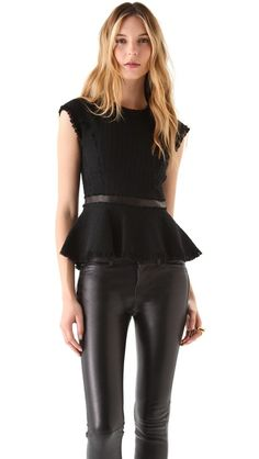 Rebecca Taylor Tweed Peplum Top