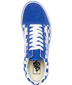 vans old skool blue & white checkered skate shoes