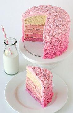 layered pink rose cake
