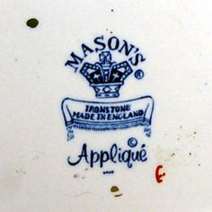 Vintage Masons Ironstone Made In England Applique china mark