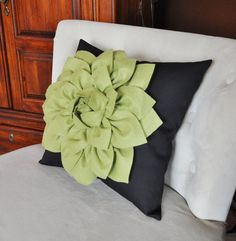 Sage Green Dahlia Flower on Brown Pillow Decorative by bedbuggs, $35.00