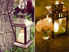 Lantern, moss bottom, small jar/vase of flowers.