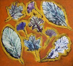 printed leaves with pastel