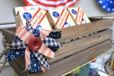 cracker jack station with cute button and fabric scrap decoration