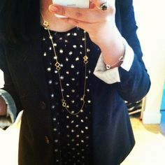 Theory blazer, Forever 21 polka dot blouse, Gap 1969 skinny jeans, Stuart Weitzman mainline boots, Louis Vuitton Trevi PM, Tiffany & Co. jewelry, Stella & Dot signature clover necklace.