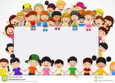 Illustration of Cute happy cartoon kids vector art, clipart and stock vectors. Happy Cartoon, Cartoon Kids, Blank Sign, Happy Children's Day, School Frame, School Clipart, Kids Vector, Label Paper, School Decorations