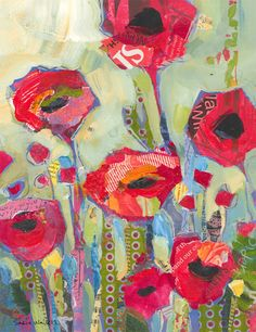 Poppies Red Flowers Original Painting by ShelliWalters on Etsy
