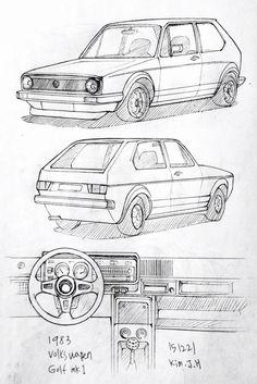 Car drawing 151221 1983 Volkswagen Golf Prisma on paper.H superbe mais plutôt Volkswagen Golf Mk1, Vw Mk1, Golf Drawing, Car Drawing Pencil, Drawing Drawing, Car Design Sketch, Car Sketch, Auto Illustration, Industrial Design Sketch