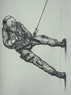 Drawtober 7 by on DeviantArt Army Drawing, Soldier Drawing, Anime Military, Military Art, Pencil Art Drawings, Art Sketches, Military Drawings, Skull Art, Animal Design