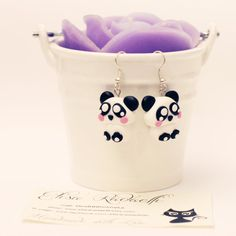 panda earrings  polymer clay by ElisaRadaelli on Etsy, €8.00