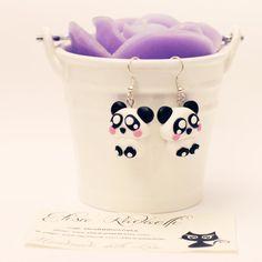 FLUFFY panda earrings  polymer clay by ElisaRadaelli on Etsy, €9.00
