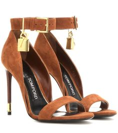 Tom Ford - Embellished suede sandals - Tom Ford's soft suede sandals come adorned with the designer's signature padlock-and-key charm, perfectly complementing the scrumptious pumpkin hue. The thick ankle strap lends added support and is finished with a gold-tone square-cut buckle. seen @ www.mytheresa.com