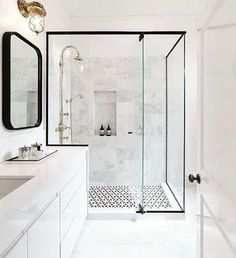 How elegant is this all white bathroom? 😃 by @elizabethkatherinehomes