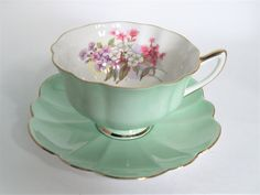 Shelley Tea Cup And Saucer, Shelley Mint Green tea cup and saucer, Atholl Shape and Mint Condition.