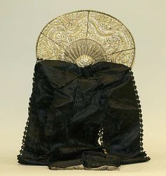 Headdress: 19th century, German, silk, metal.
