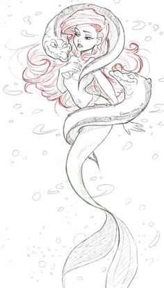 Awesome Little Mermaid art Disney And More, Disney Love, Disney Magic, Disney Stuff, Ariel Disney, Disney Princesses, Disney Sketches, Disney Drawings, Princess Draw