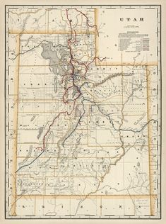 Map of Utah from 1901; restored map fine reproduction Vintage Wall Art, Vintage World Maps, Wall Maps, Pigment Ink, Canvas Prints, Paper, Products, Photo Canvas Prints