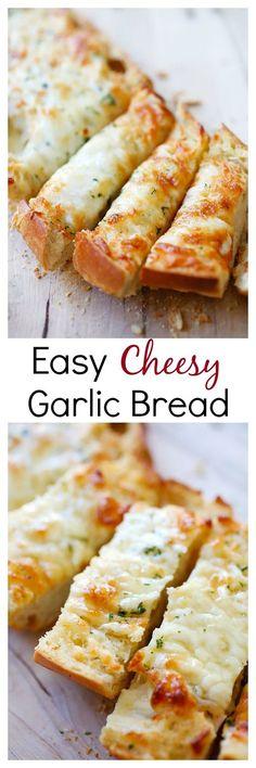 Easy Cheesy Garlic Bread – Turn regular Italian bread into buttery & cheesy garlic bread with this super easy recipe that takes only 20 mins   image via @rasamalaysia recipe via @CrunchyCreamySw