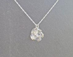 Silver Rose necklace/pendant fine silver by MeltSilver on Etsy