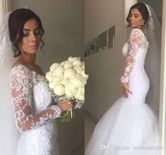 2017 New Arabic Plus Size Mermaid Wedding Dresses V Neck Sheer Lace Appliques Beaded Long Sleeves Tulle Button Back Court Train Bridal Gowns Vintage Wedding Dresses Wedding Gowns From Icebeauty66, $133.93| Dhgate.Com