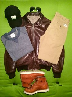 Leather jacket Grifoni, sunglasses Ray Ban Aviator, baseball cap Goorin Brothers, chinos Ben Sherman EC1, sweater Billy Reid and shoes Red Wing 875
